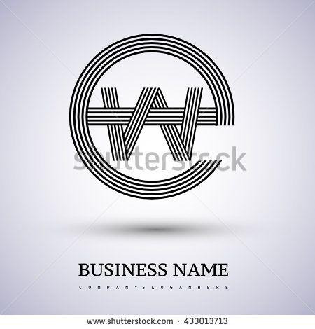 Letter EW or WE linked logo design circle E shape. Elegant black colored letter symbol. Vector logo design template elements for company identity. - stock vector