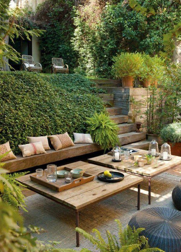 vorgarten gestalten ideen gartentisch holzbank treppen pflanzen, Garten und Bauen