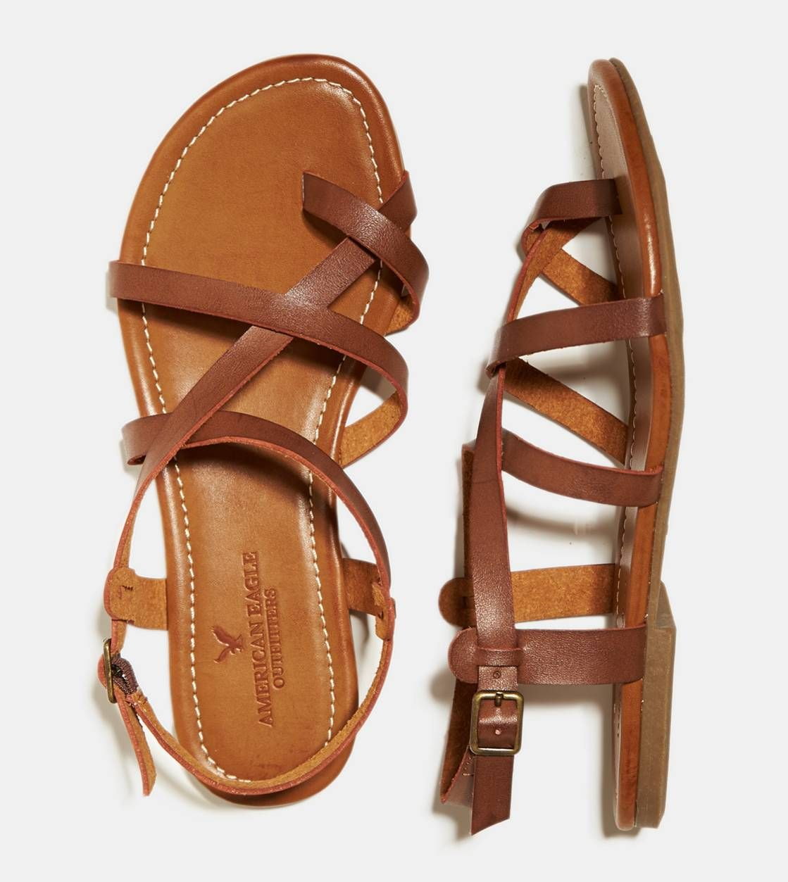 Dark Brown Strappy Criss Cross Sandal, $30 | American Eagle