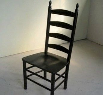 Black 4 Slat Ladder Back Chair   Farmhouse   Dining Chairs   Boston    ECustomFinishes