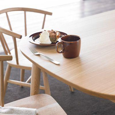 オーク材テーブル・丸脚・幅220cm 幅220×奥行90×高