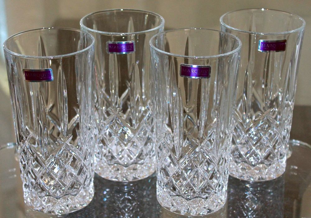 Marquis by waterford markham high ball set of 4 clear crystal new ...