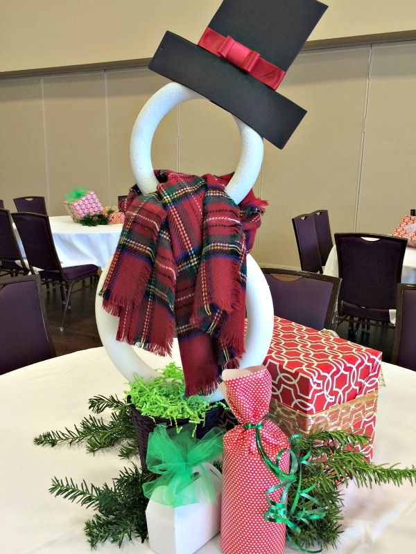 How To Make A Styrofoam Ring Snowman And Church Christmas Banquet Table Decorations Christmas Party Table Christmas Party Centerpieces Church Christmas Decorations
