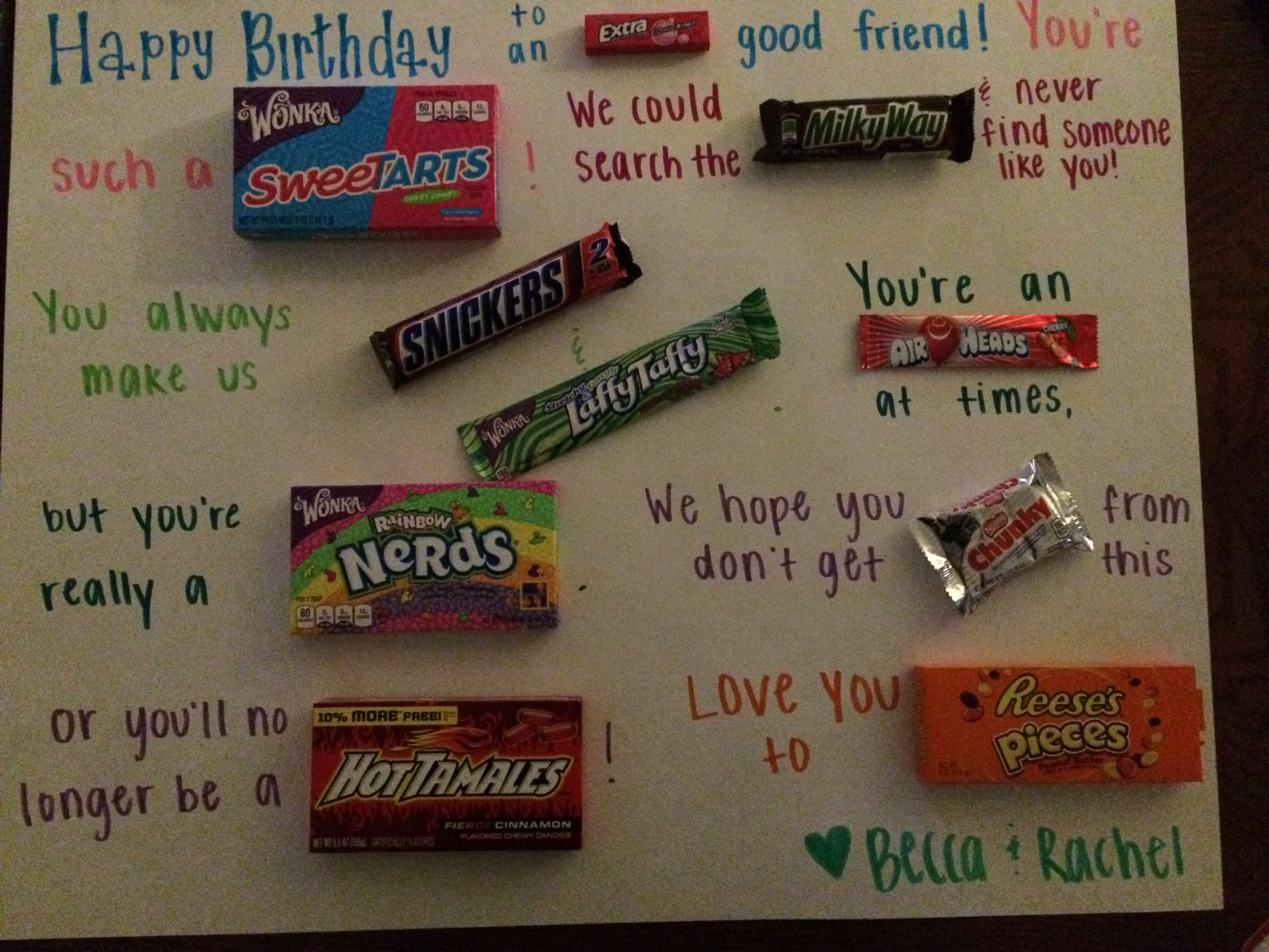birthday poster with clever candy sayings pinterest