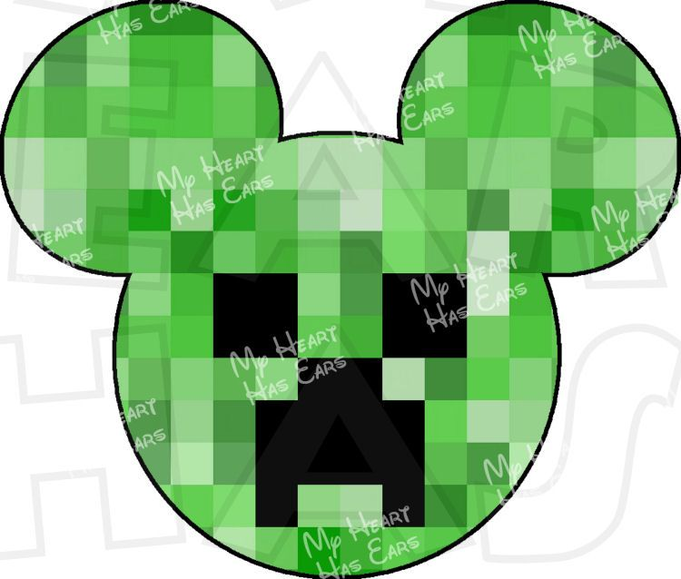 minecraft creeper mickey mouse ears head instant download digital clip art image for iron on transfers