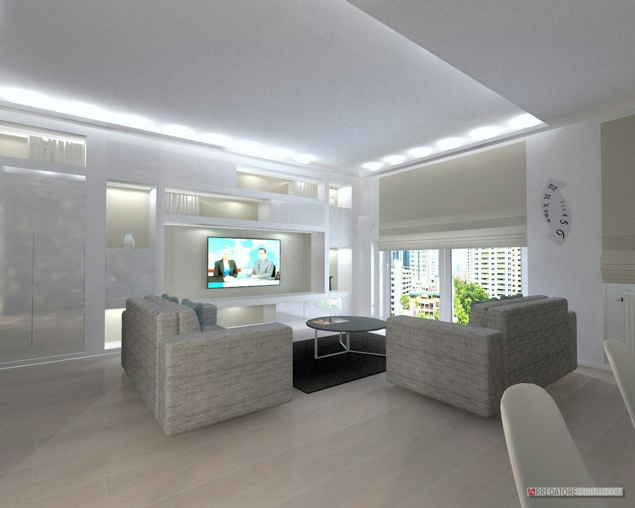 soggiorno moderno parete in cartongesso con nicchie