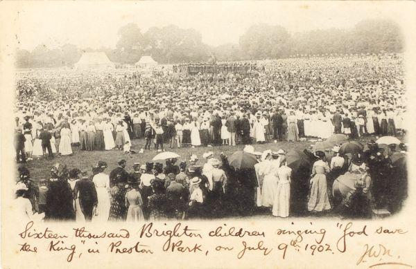 "Sixteen thousand Brighton children singing ""God Save The"
