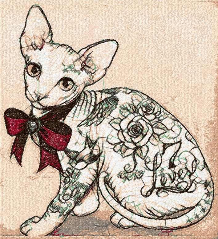 Cat Sphinx Photo Stitch Free Embroidery Design Photo Stitch