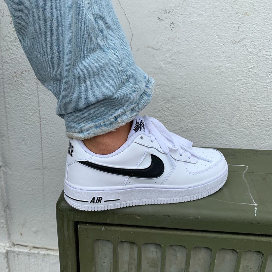 Womens Nike Air Force 1 White and Black Vintage Aesthetic Streetwear Fashion Casual Fall Style Inspo