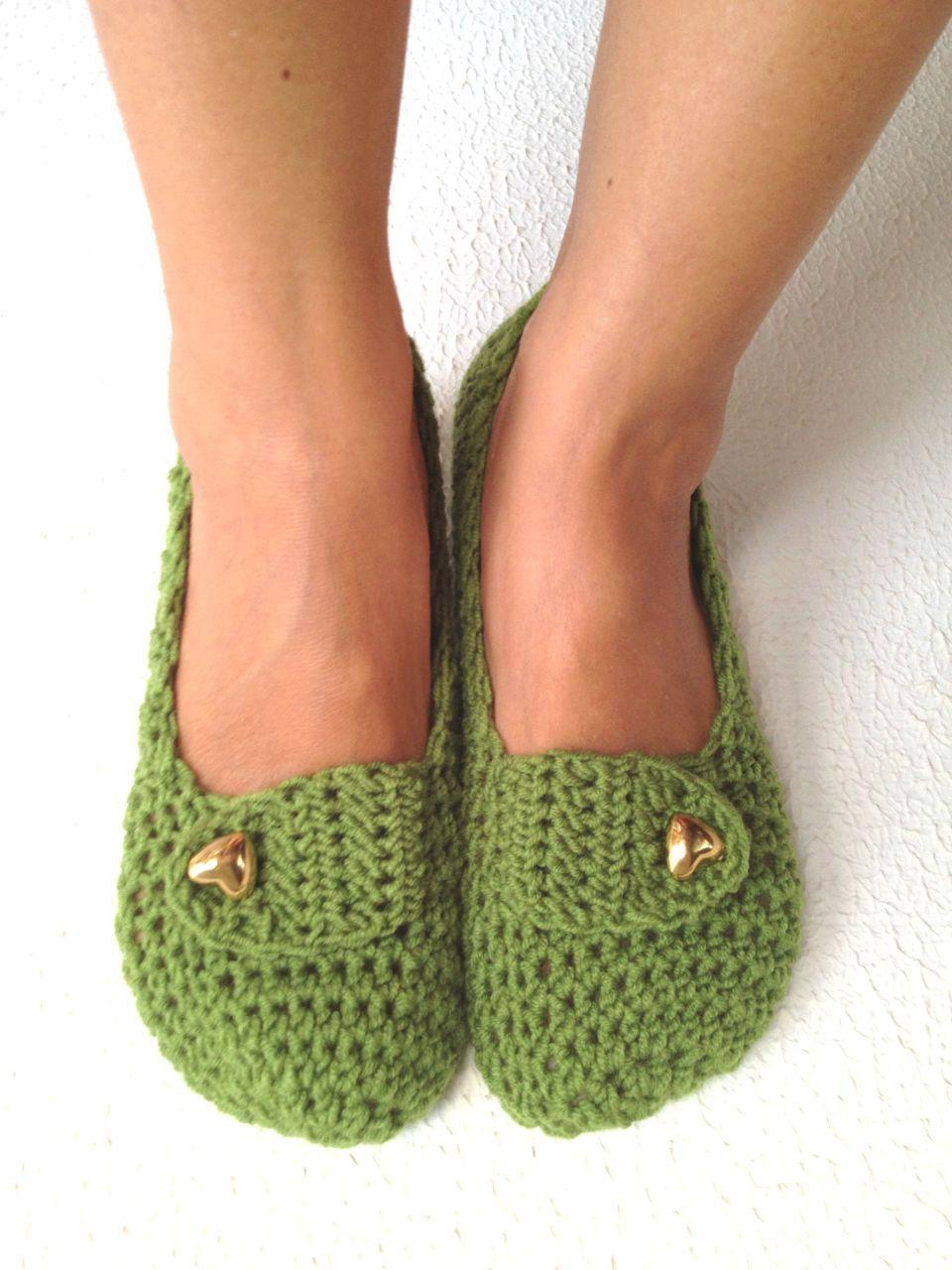 crochet womens slippers ballet flats house shoes 25 00 via etsy