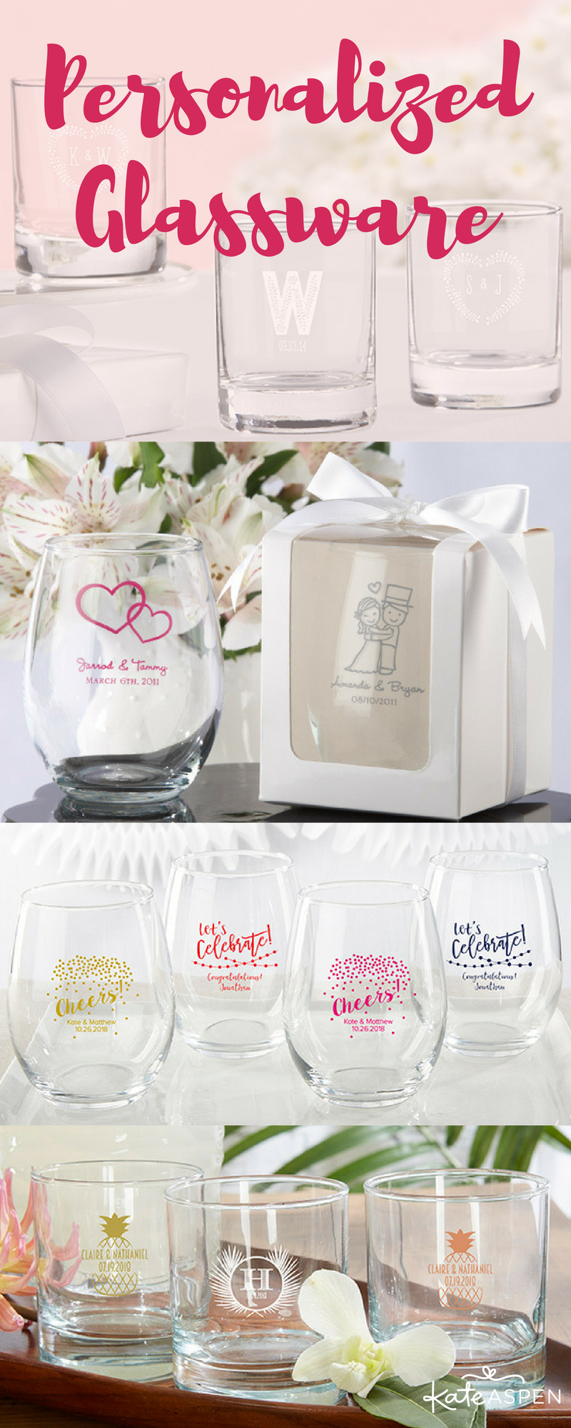 Personalized glassware is the perfect favor for weddings and other ...