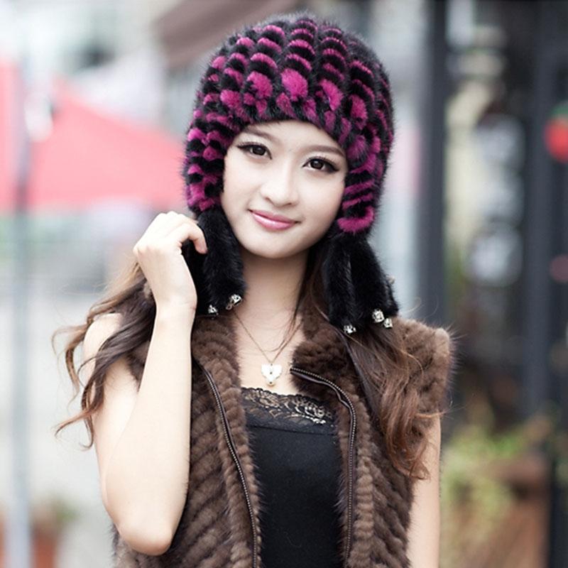 $37.48 (Buy here - https://alitems.com/g/1e8d114494b01f4c715516525dc3e8/?i=5&ulp=https%3A%2F%2Fwww.aliexpress.com%2Fitem%2F2015-fashion-mink-fur-vertical-stripes-knitted-hat-with-tassels-soft-elastic-winter-cap-women-toucas%2F32496385066.html) 2015 fashion mink fur vertical stripes knitted hat with tassels soft elastic winter cap women toucas de inverno SDM-091