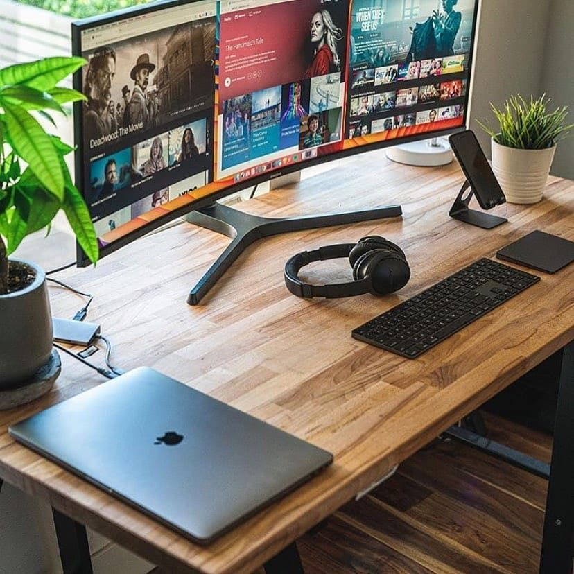 Love The Nature Besides It Home Office Setup Office Desk Designs Office Setup