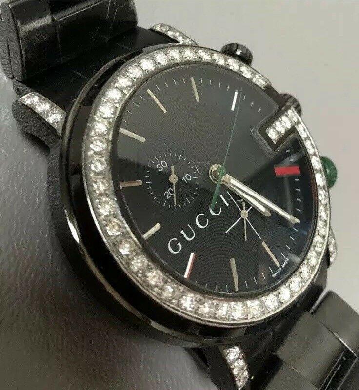 7d894a22342 Men s Gucci 101M Chrono Stainless Steel 1.84ct Diamond Bezel Black Watch  44mm