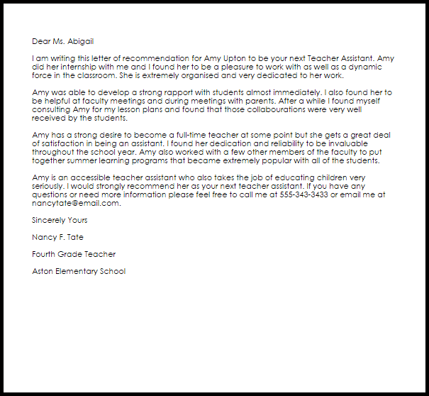 Volunteer Teaching Assistant Cover Letter: Image Result For Sample Reference Letter