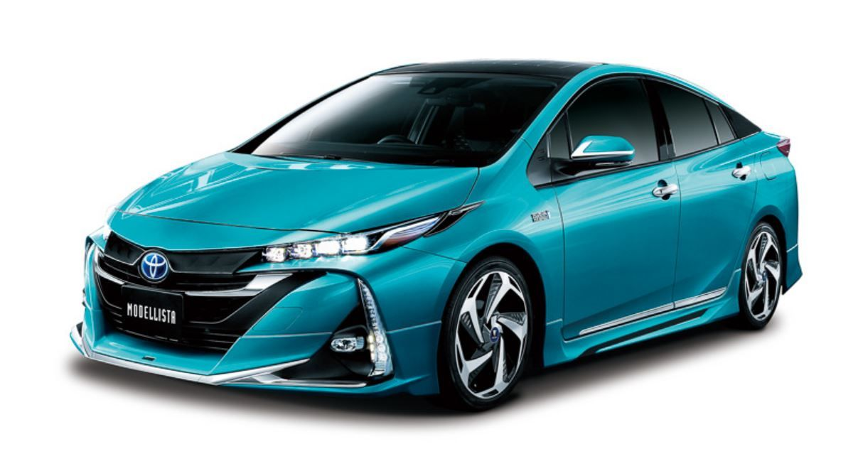 Toyota racing development and modellista presented tuning packages for the new toyota prius plug in