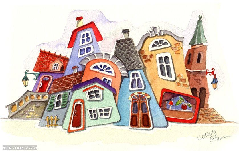 sweet little town  naive malerei skurrile kunst malen