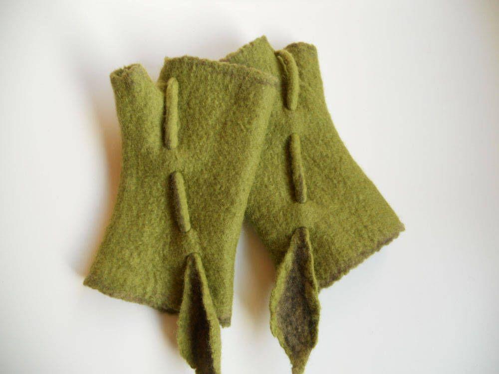 Felted fingerless gloves, Felted merino gloves, Wool