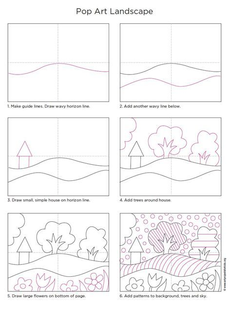 art project for kids step by step how to landscape drawing