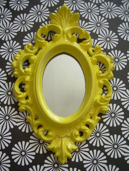 Mini mirror from soZealous. Love the yellow. Great idea for in my bedroom