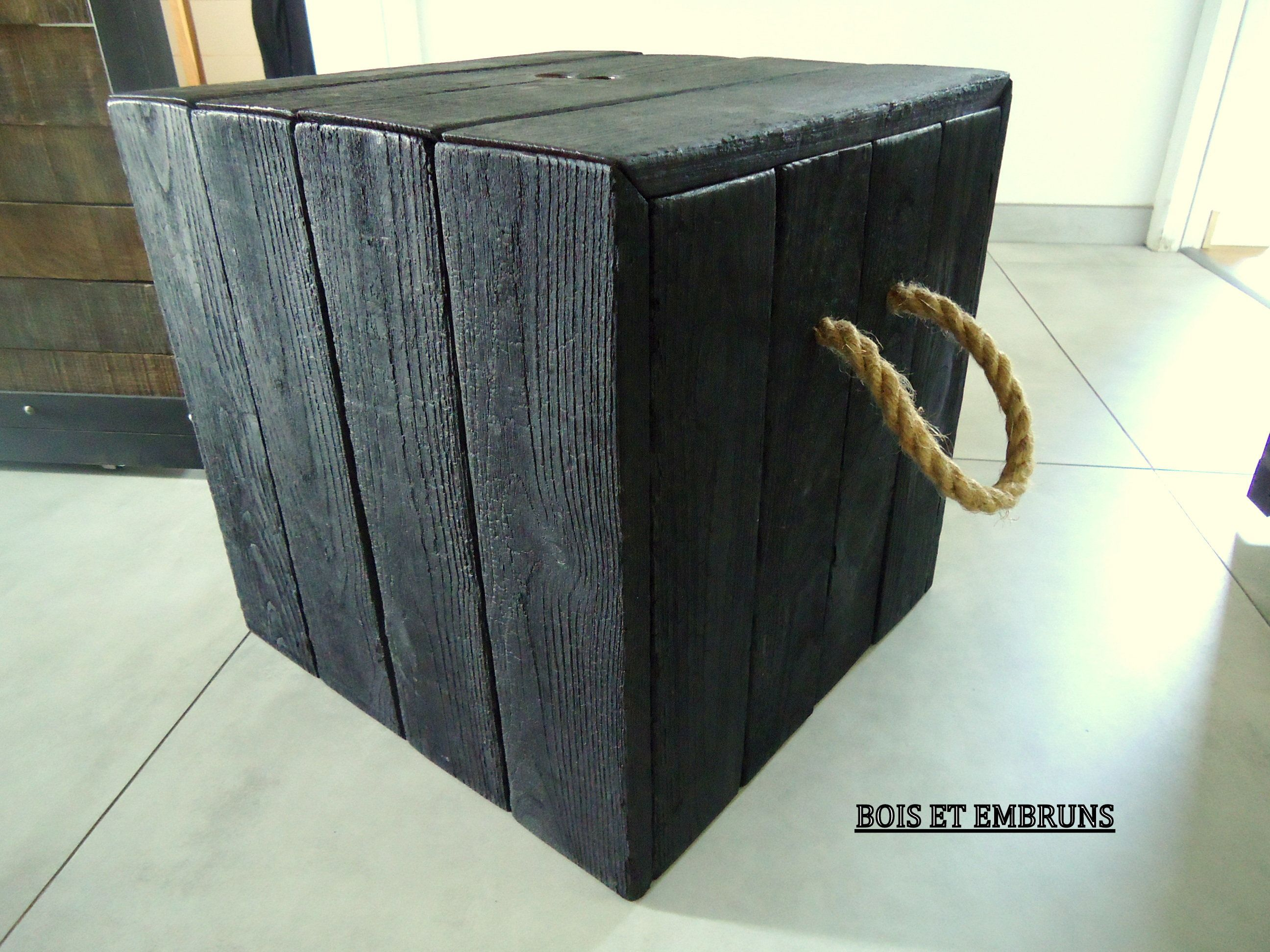 Meuble Shou Sugi Ban Yakisugi Beistelltisch Cube De Rangements