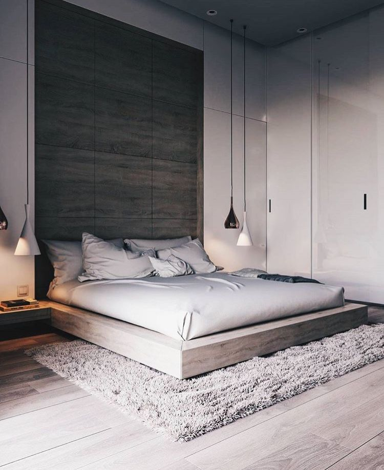 Inspired Spaces Bedroom Platform Bed Wood Accent Pendant