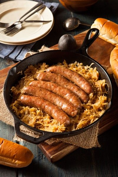 Photograph Roasted Beer Bratwurst with Saurkraut by Brent Hofacker on 500px