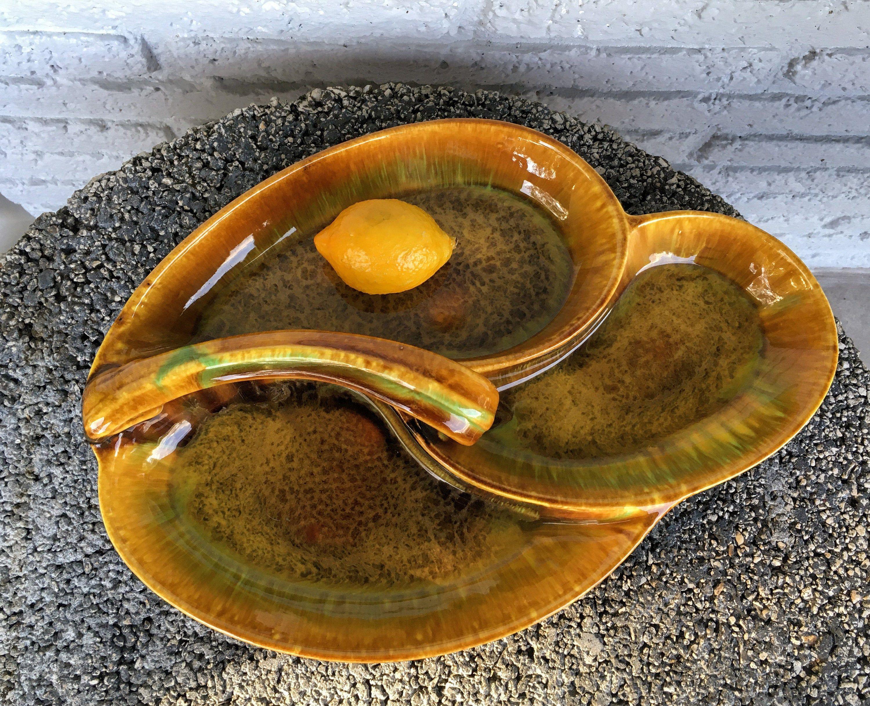 Small; Glazed; Heavy Ceramic Tray; Ring Dish; Trinket Tray; Plant Tray; Touquoise; Brown Glaze; FREE SHIPPING !!!