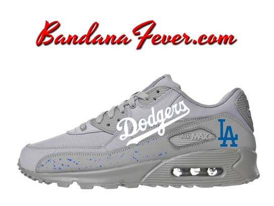 da4157ddac4aa7 Custom Dodgers Nike Air Max 90 Shoes Ultra Wolf Grey