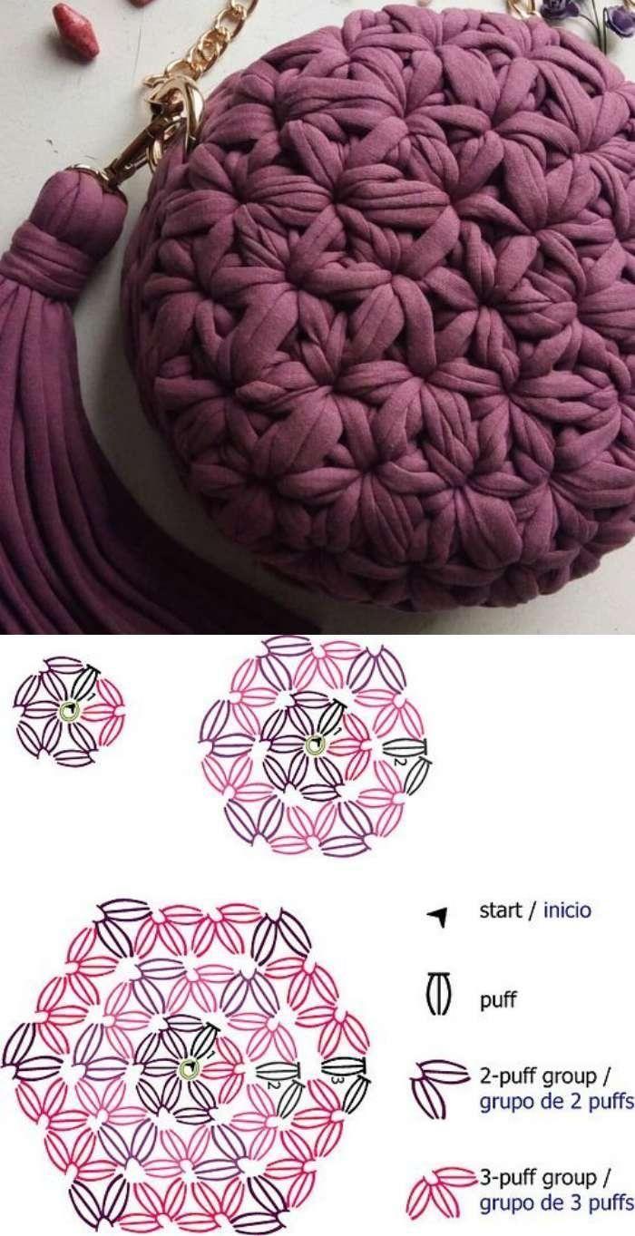Faça e lucre: 26 modelos de bolsa de crochê com gráfico #crochethandbags
