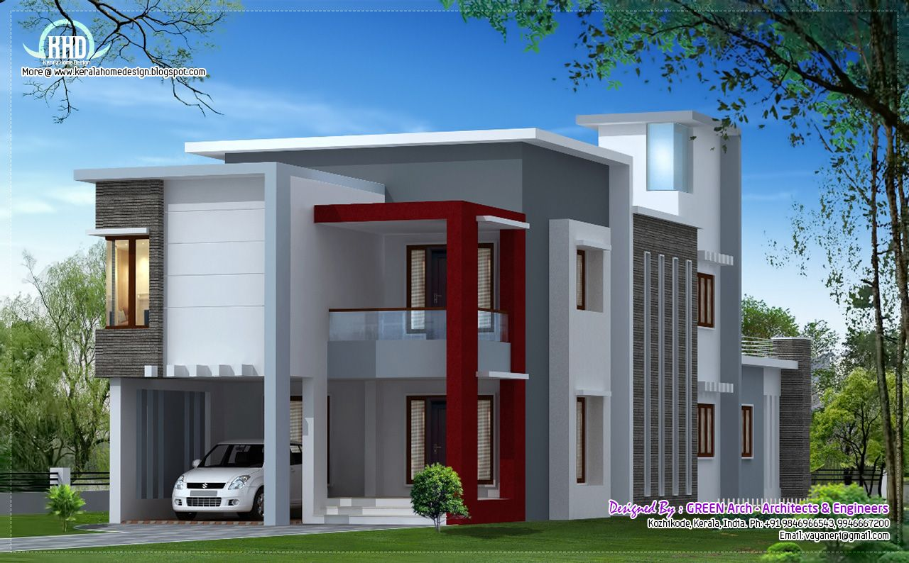 Sq feet flat roof contemporary home design kerala home for Flat exterior design
