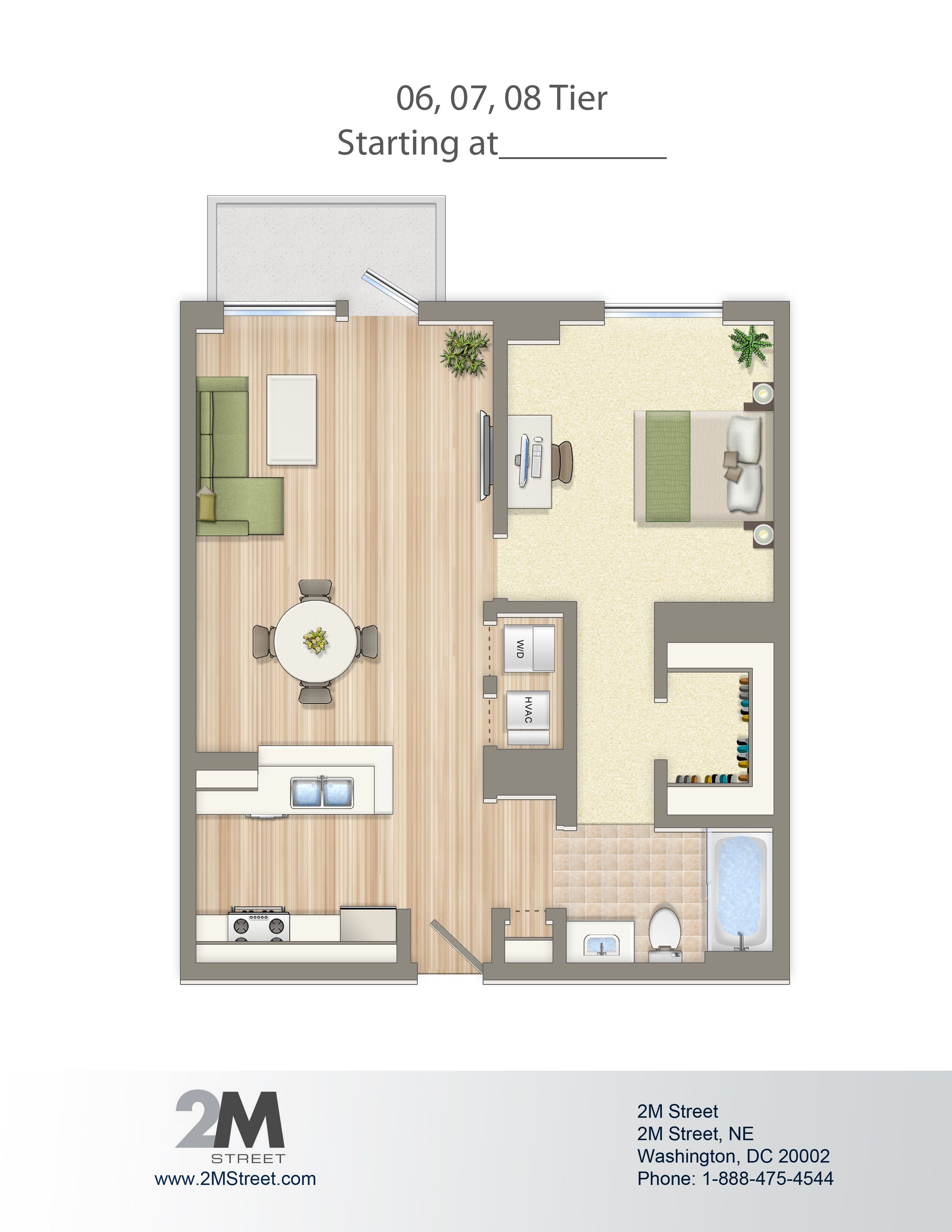 One Bedroom Floor Plan | 2M Street In Northeast Washington DC | WC Smith #