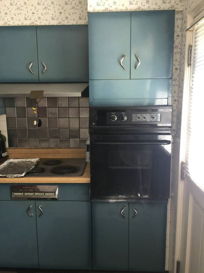 Burnt blue Youngstown steel kitchen cabinets - what a ...