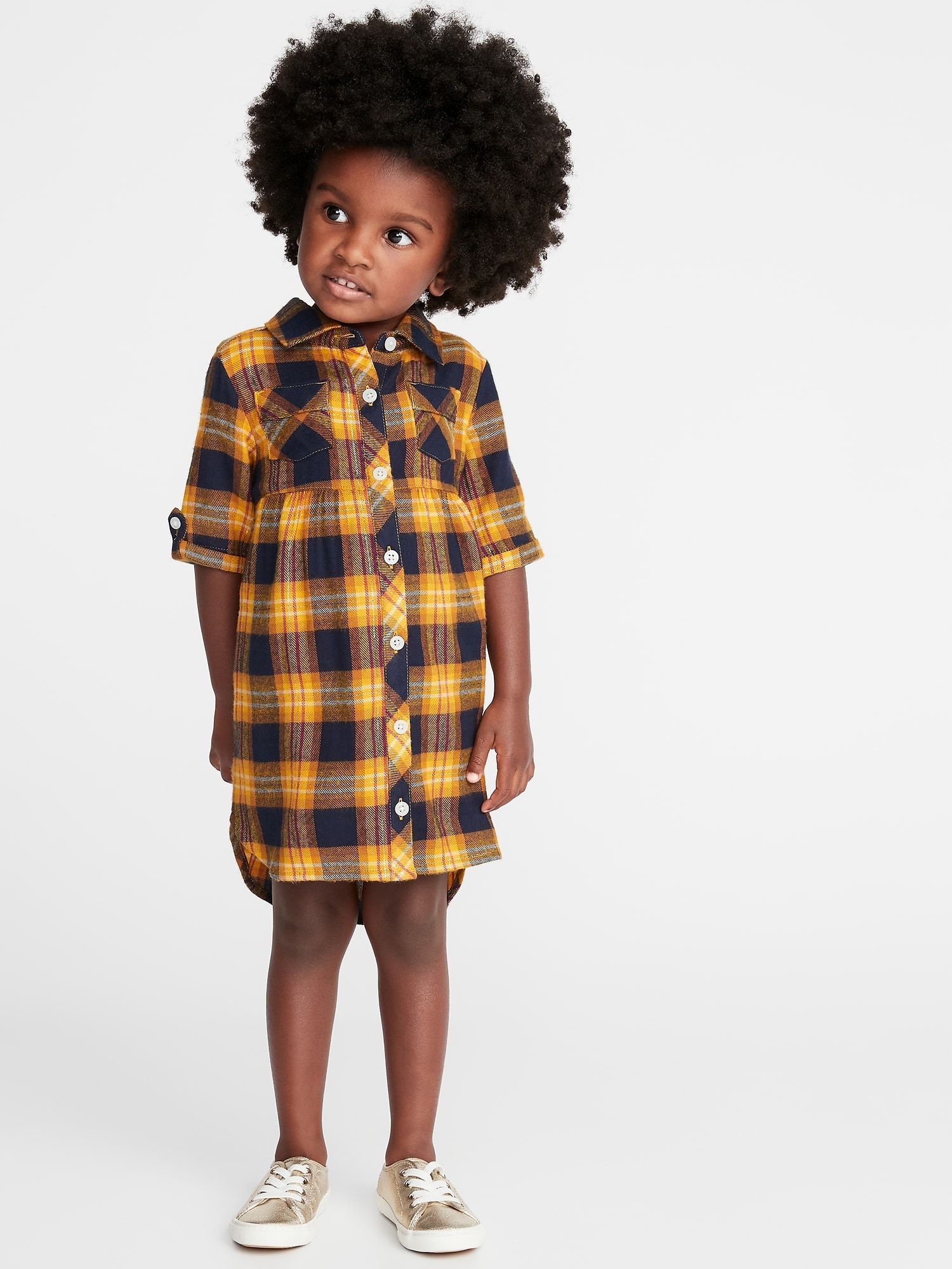 Plaid Flannel Shirt Dress For Toddler Girls Old Navy