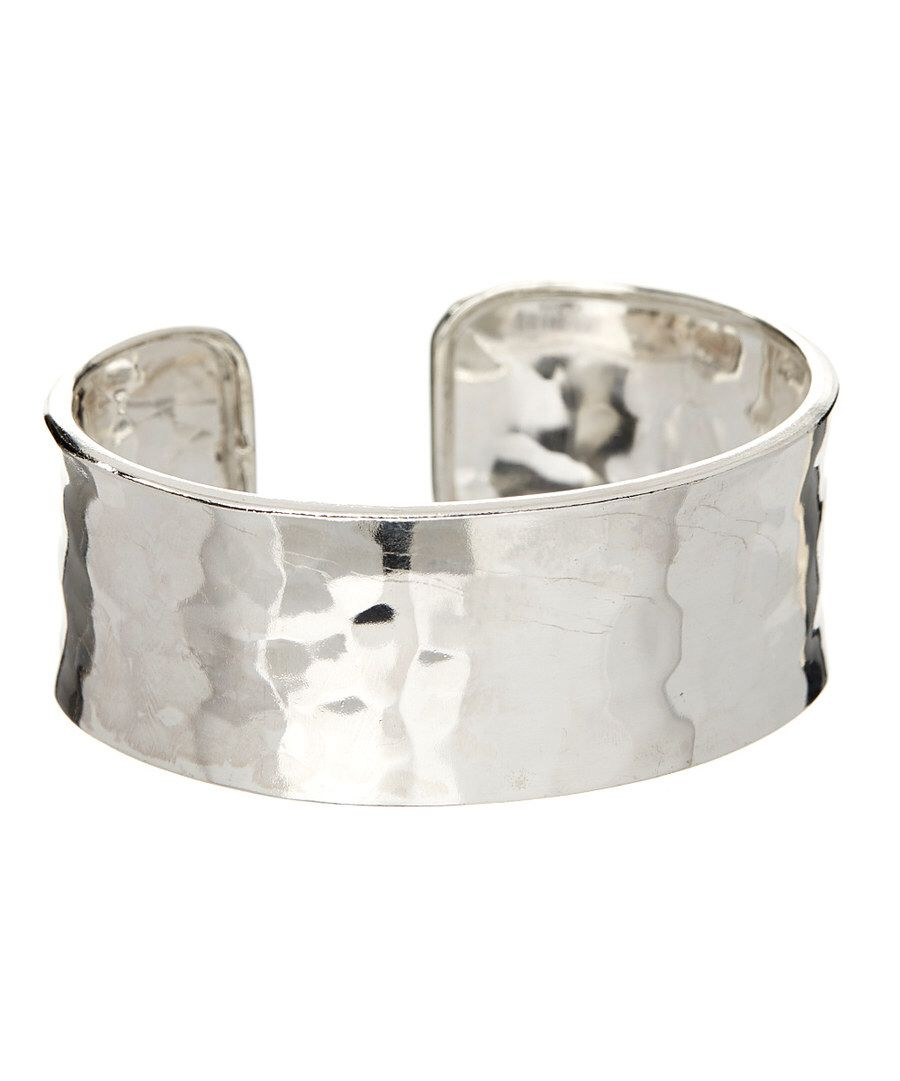 Look at this Sterling Silver Hammered Wide Cuff on #zulily today!