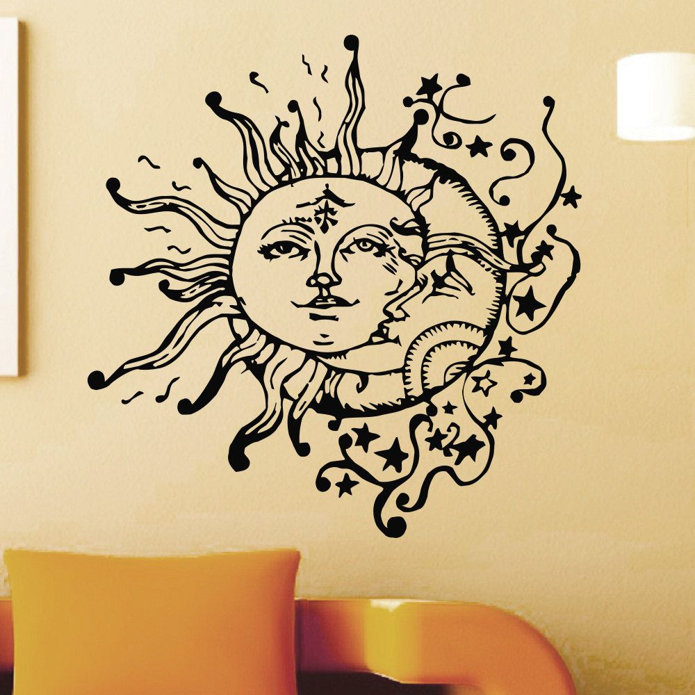 Wall Decal Vinyl Sticker Sun And Moon Crescent Ethnic Dual Symbol ...