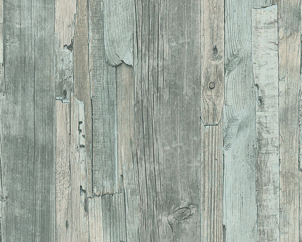 95405 5 Distressed Driftwood Wood Effect Wallpaper Green In Home