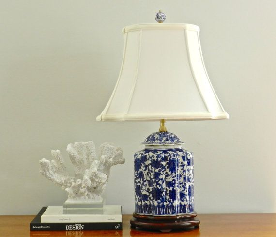 Vintage Chinoiserie Table Lamp Silk Shade Blue White Asian