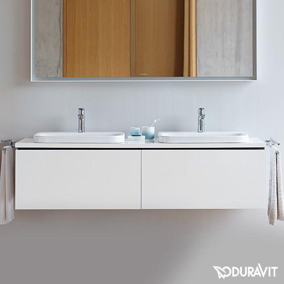 Doppelwaschtisch aufsatzwaschbecken duravit  Duravit L-Cube Konsole für 2 Aufsatzbecken und Einbauwaschtische ...