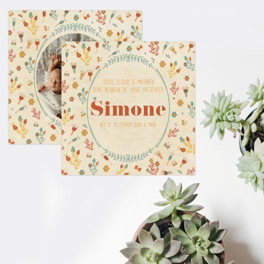 Annonce de naissance Vintage Flowers
