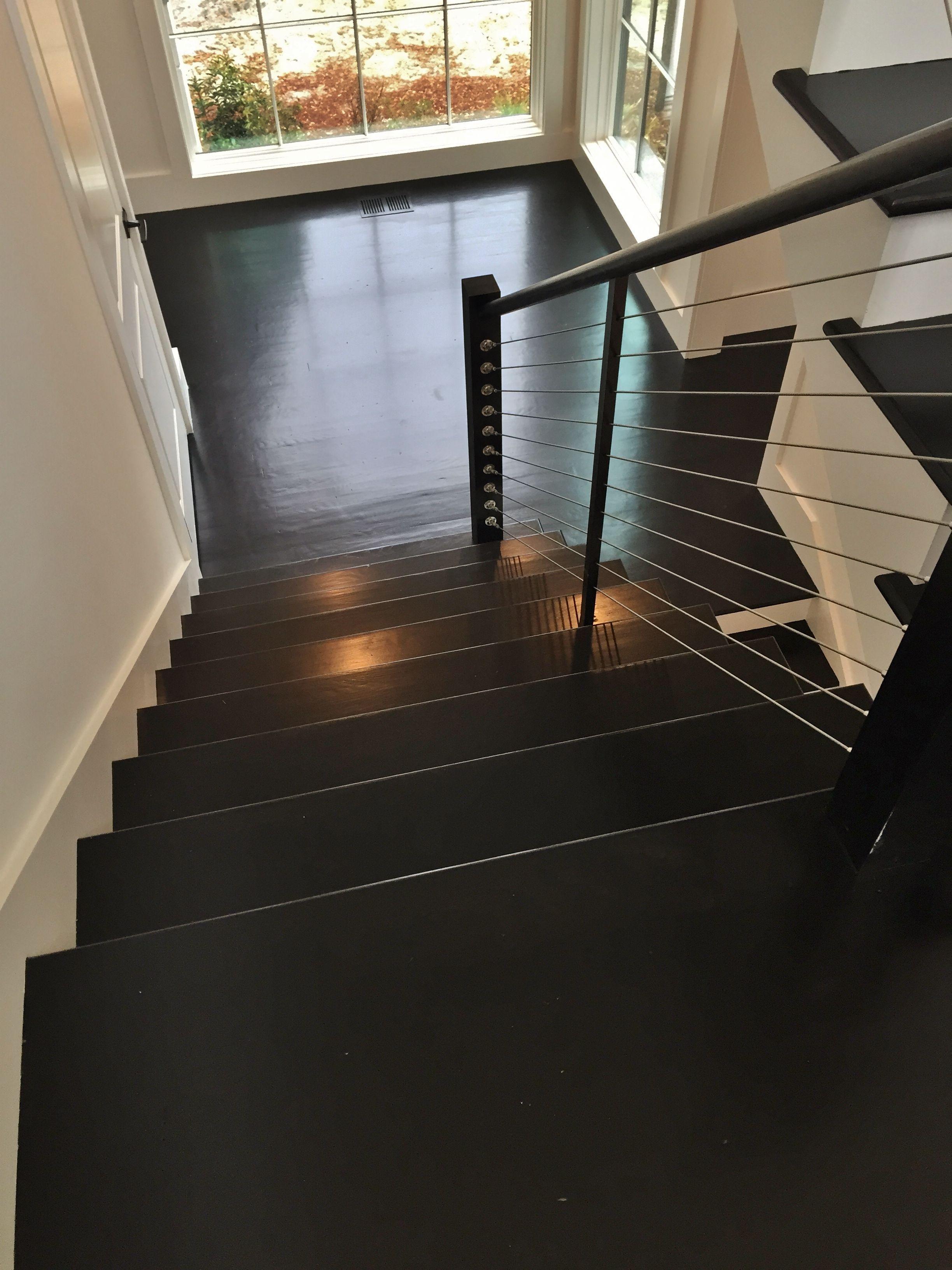 Brazilian ebony hardwood flooring - Red Oak Stair Treads Stained Ebony