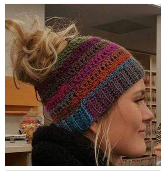 55f6a4c74 A beanie with a hole for an updo - this is the answer to my winter ...