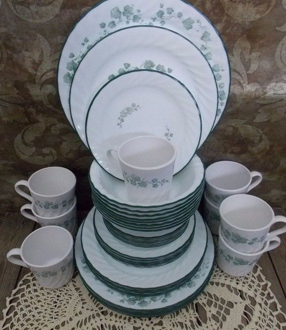 Calloway Ivy Corelle Corning Dishes 48 Piece Dinnerware Set