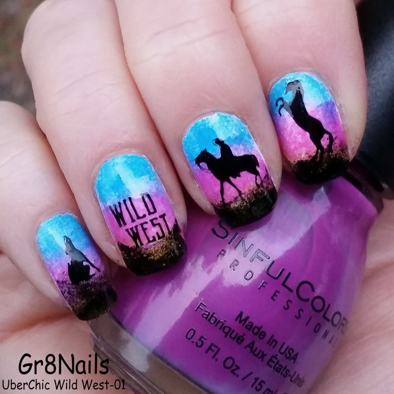 Horse nail art using UberChic Wild West stamping plates - Horse Nail Art Using UberChic Wild West Stamping Plates Royal