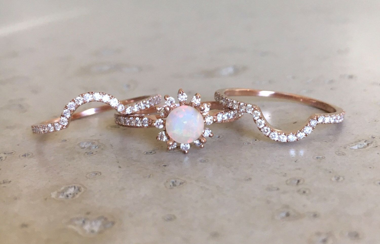 Rose Gold Opal Engagement Ring Set Genuine Opal Engagement Etsy Engagement Rings Opal Opal Engagement Ring Set Opal Engagement Ring Rose Gold