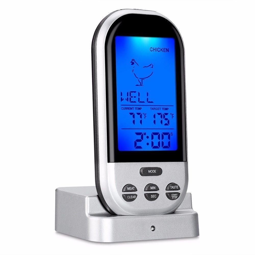New Wireless LCD Remote Thermometer For BBQ Grill Meat ...