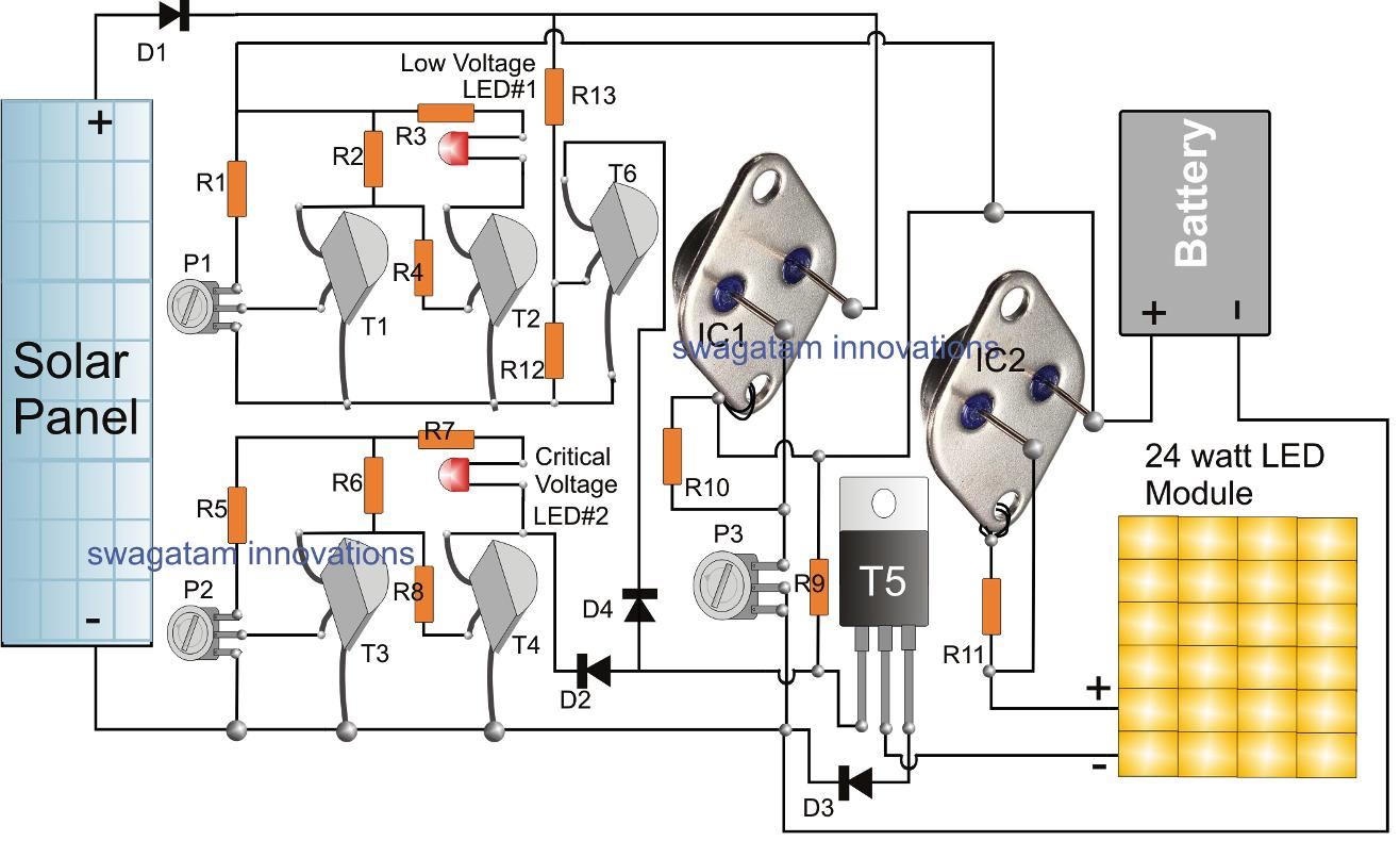 the post explains a simple automatic solar led street light circuit simple led circuit diagram led street lamp circuit [ 1316 x 790 Pixel ]