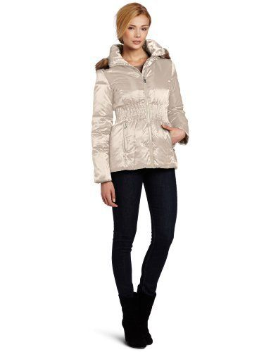 Laundry Women's Short Satin Down Coat laundry by SHELLI SEGAL. $122.50. 100% polyester. Machine wash. Made in China. Detachable faux fur-lined hood. Center front zip closure with cinched waist. High sheen, faux-fur accents, and a fitted waist keep Laundry's Short Satin Down coat as stylish as it is warm.