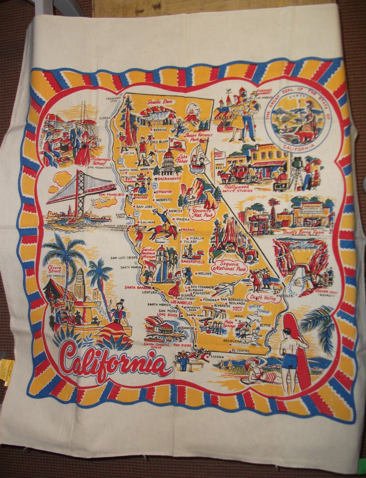 Souvenir tablecloth from California, Cactus Cloth - never used, original tag intact. SOLD!