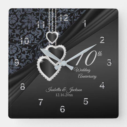 10th Onyx Wedding Anniversary Keepsake 2 Square Wall Clock Zazzle Com Wedding Anniversary Keepsake Wedding Anniversary Square Wall Clock